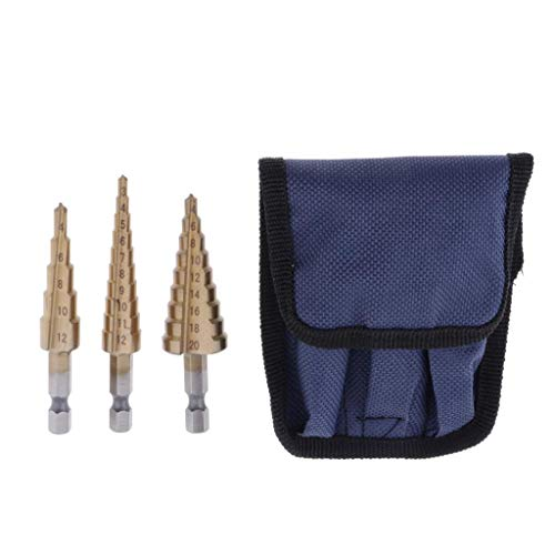 LoveinDIY 3-Packs HSS Multiple Hole 3 Sizes Step Drill Bit Set with Canvas Case