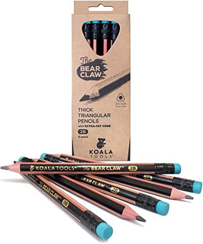 Koala Tools Bear Claw Pencils pack of 6 Fat Thick Strong Triangular Grip Graphite 2B Lead with product image