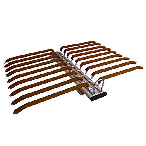 Gnova Perchero Colgador extraíble de Armario para 18 Pantalones,Pantalonero Extraible Antideslizante,Marrón/Naranja,Doble guía