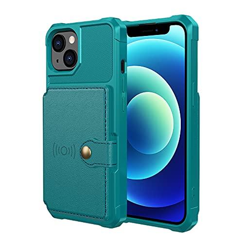 FHZXHY - Custodia a portafoglio compatibile con iPhone 13, con supporto magnetico per auto per iPhone 13, 5 g, 6,1 pollici, colore: Verde