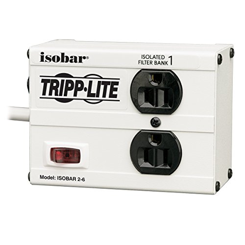 Tripp Lite IBAR2-6D Isobar 2 Outlet Surge Protector Power Strip, 6ft Cord, Right-Angle Plug, Metal, Lifetime Limited Warranty & Dollar 25,000 Insurance