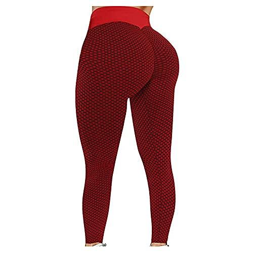 WENHUA Pantalones Casuales de Yoga con, Pantalones de Yoga Delgados, Leggings Deportivos de Fitness de Gran tamaño, Red_M, Pantalón Deportivo de Mujer Cintura Alta Control