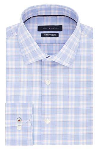 Tommy Hilfiger Men's Dress Shirt Slim Fit Stretch Check, Vintage Rose, 15