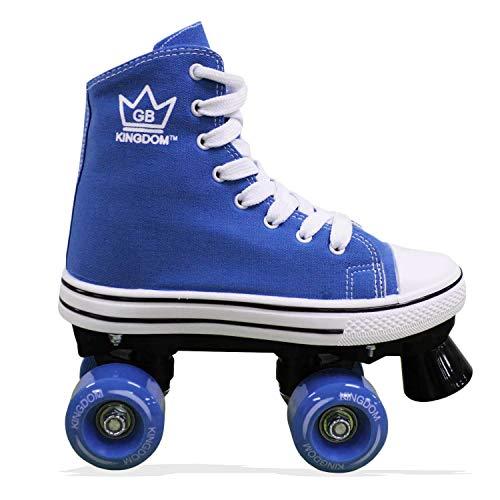 Kingdom GB Canvas HI PE Girls Quad Roller Skates Junior Kids 2 UK Royal Blue