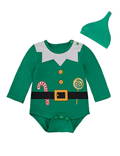 Baby Boys Girls Outfit Set Christmas Santa Claus Costume Bodysuit with Hat (Green, 3-6 Months) …