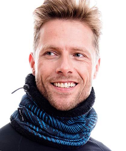 Hilltop Polar Multifunktionstuch, Herbst & Winter Schal, Halstuch, Motorradmaske, Gesichtsmaske, Halswärmer, mit Kordelzug 100{b363266a56e142d7e2a33237064474cee22d218339a98177a7f50ff29ed31295} Fleece, für Damen und Herren,Blau-Schwarz mit Teddy Fleece