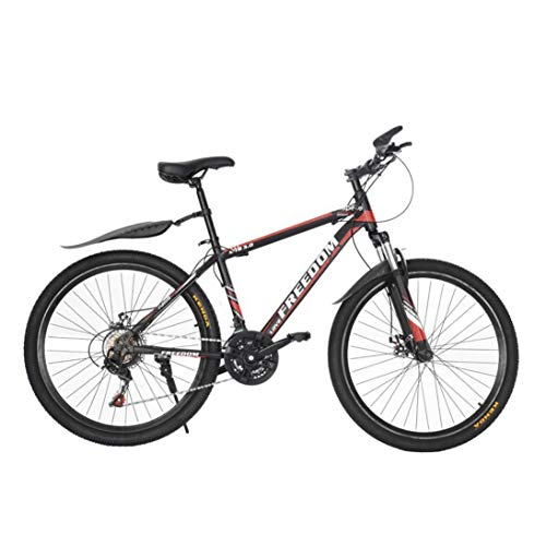 Qazqa Aluminum Stone Mountain Bike, Shimanos 26 inch Wheels 21 Speed Anti-Slip Bicycle, Adult Teens Fat Tire Cycle Front Suspension Fork, Lightweight MTB Bikes for Men/Women Outdoor (Black and Red)