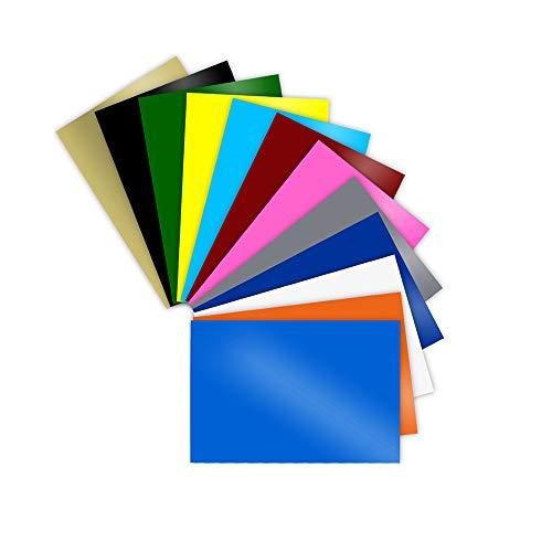 Sunice - Hojas de vinilo con reverso adhesivo permanente, 20 x 30 cm, 24 hojas de colores surtidos que funcionan con cualquier máquina de corte
