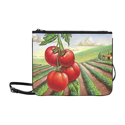 WYYWCY Reife Tomaten ländliche Landschaft Digital Painting Custom hochwertige Nylon dünne Clutch Cross Body Bag Umhängetasche