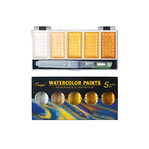 Tinge Portable Metallic Water Color Paint, 5 Shimmery Colors, Artist Glitter Solid Watercolors with 1 Water Brush for Artists, Students and Painting Beginners
