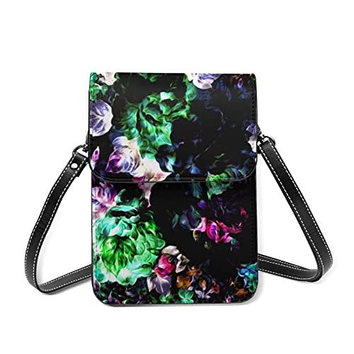 Bolso de hombro para mujer, diseño de hojas de pintura de acuarela, con ranuras para tarjetas, 444 Mezcla de acuarela floral moderna, Talla única
