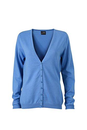 James & Nicholson Damen V-Neck Cardigan Strickjacke, Blau (Glacier-Blue), 36 (Herstellergröße: M)