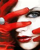 Xofjje Pintar por Numeros_Serie Rojo Negro w_Adultos Niños DIY Pintura por Números_con Pinceles y Pinturas_40x50cm_Sin Marco