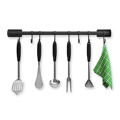 Organizador para ollas de pared sin perforaciones, multiusos, barra de cocina, 60 cm, estilo industrial, barra para colgar utensilios de cocina, organizador para sartenes, tabla de cortar, color negro