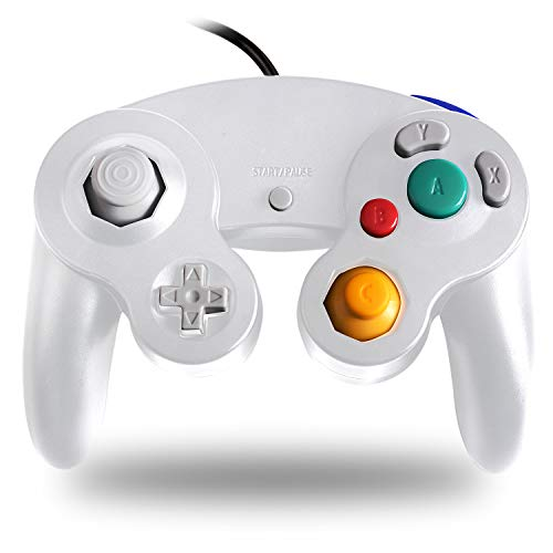 TechKen Gamecube Controller Joystick für Wii Wired Game Controller Joypad Dual Vibration NGC Gamepad Game Cube Original Controller Gamecube Spiele für GC (White)