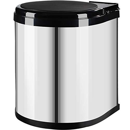 Khmyi prullenbak kast hoek roestvrij staal afval papier doos waterdichte prullenbak opslag Bin in kast zilver