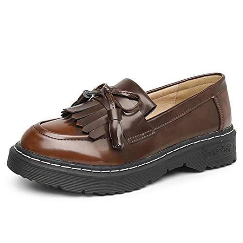 Mocasines de Mujer Borla de Moda Bowknot Costura de Color sólido Deslizamiento de PU en Punta Redonda Pisos Inferiores Gruesos Tallas Grandes 42 Zapatos de Cuero Ocasionales Femeninos