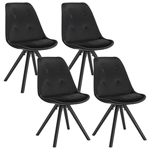 WOLTU® BH196sz-4 4 x Esszimmerstühle 4er Set Esszimmerstuhl, Sitzfläche aus Samt, Design Stuhl, Küchenstuhl, Holzgestell, Schwarz