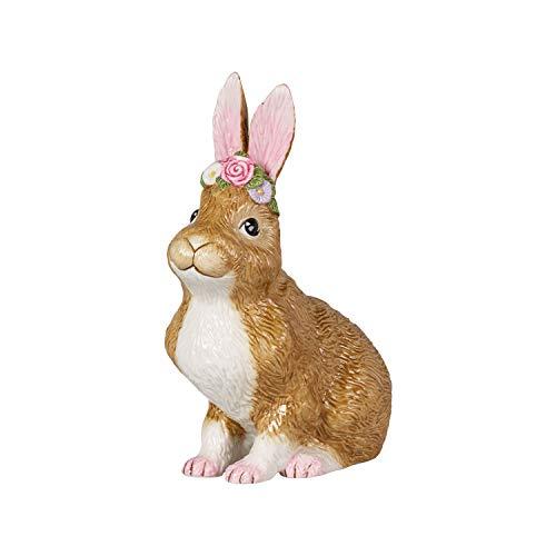 Villeroy & Boch Easter Bunnies Hase groß, sitzend mit Blumenkranz, dekorative Osterhasenfamilie, Hartporzellan, 14 x 9 x 19 cm, Mittel
