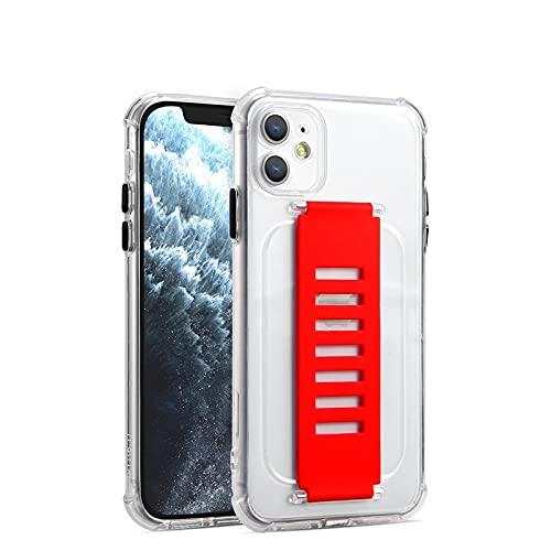 Estuche para teléfono con correa para la muñeca a prueba de golpes para iPhone 12 11 Pro XS Max 6S 7 8 Plus X XR SE2 Funda de silicona suave transparente para muñequera, rojo, para iPhone XS MAX