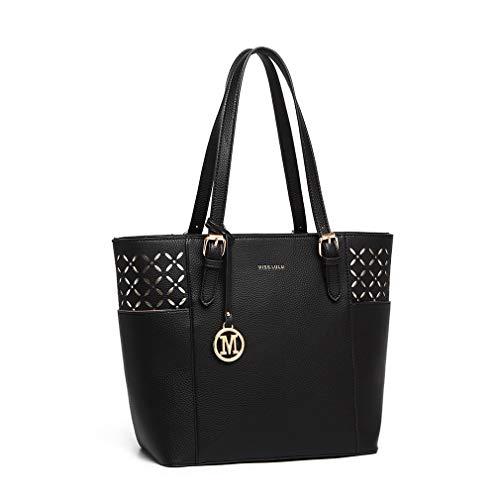 Miss Lulu axelväska dammode väskor handväska laserutskuren design för shopping (Svart)