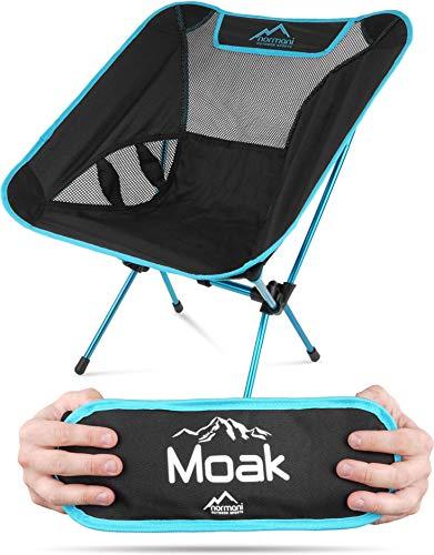 normani Ultraleichter Mini Campingstuhl MOAK 796 g! klappbarer Strandstuhl Anglerstuhl mit Aluminiumgestell - Stabiler Outdoorstuhl - Traglast: 135 Kg (330 lbs) Farbe Blue