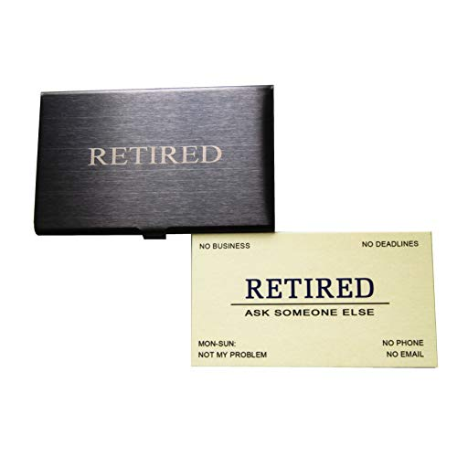 RXBC2011 Retired Business Cards Funny Retirement Gift (Pack of 50/With Black Stainless Steel Case) For Retired Men, Women, Coworkers, Employees, Boss, Friend, Colleague