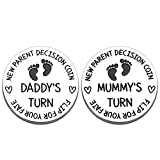 Funny New Mummy Daddy Decision Coin Gifts for Parent First Time Mom to Be Pregnancy New for Women Men Christmas Birthday Mothers Fathers Day Mom Dad Present Double Sided