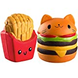 LiQi Squishies Pack Slow Nascing Burger Regno Unito Jumbo profumato Squishy Chips Squeeze French Patatine Fritte Giocattolo Stress Regalo Regalo 2pcs (Burger + Patatine Fritte)