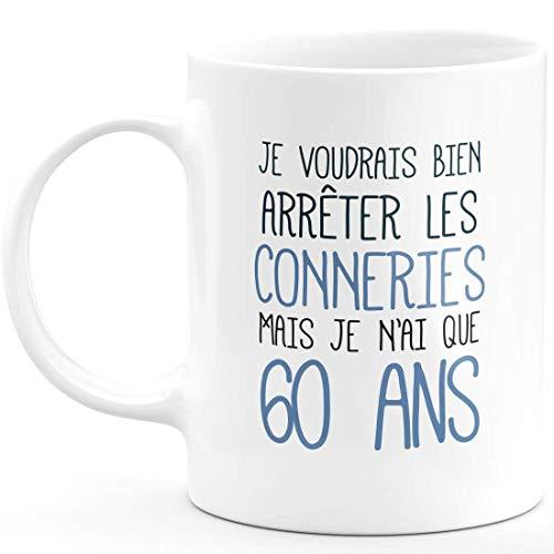 Mug Anniversaire 60 Ans Rigolo drôle - Tasse Cadeau Anniversaire 60 Ans Homme Femme Humour Original - Céramique - Blanc