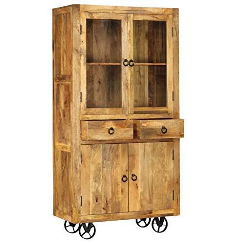 Tidyard Handwerkskunst Holz-Highboard Mit Stahlrädern,Sideboard Kommode Beistellschrank Schrank Anrichte Mehrzweckschrank Abmessungen:95 x 45 x 185 cm (B x T x H) Mango-Massivholz