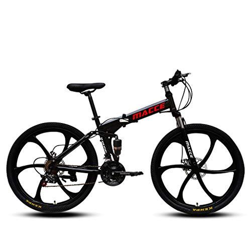 Mountain Folding Bike,26in Carbon Steel Mountain Bike Shimanos21 Speed Bicycle Full Suspension MTB (Black)