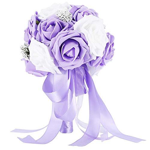 TOPINCN Brautstrauß Blumen Künstliche Blumen Gefälschte Rose Ribbon Bundling für Hochzeitsdekorationen Garten Party Requisiten Zubehör(Violett)