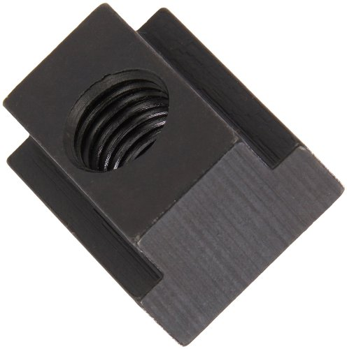 1018 Steel T-Slot Nut, Black Oxide Finish, Grade 8, Tapped Through, 1/2