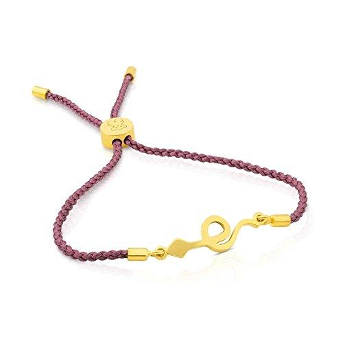 TOUS - Pulsera chapada en oro amarillo con cuerda de serpiente y rosa