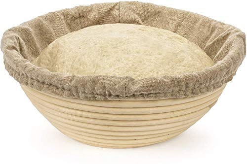 MEETOZ 8 inch Round Banneton Brotform Bread Dough Proofing Rising Rattan Handmade Basket with Linen Liner Cloth