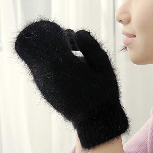 Gerald Madge bekannte süße Kaninchenwolle Handschuhe für Frauen Winter Fäustlinge Fellhandschuhe Winterhandschuhe Frauen Mädchen Fäustlinge, Herren, BK