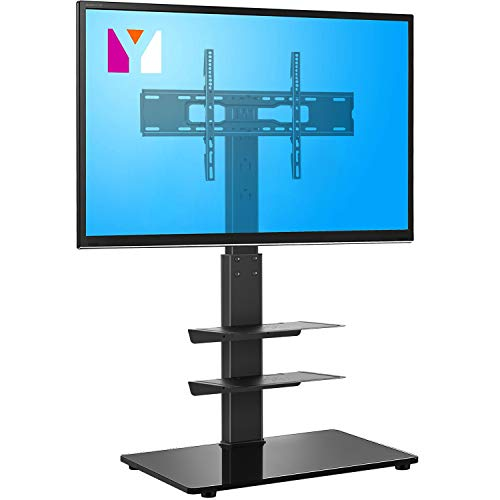 YOMT Floor TV Stand with Mount for Most 32-65 inch LCD,LED Flat or Curved Screens TVs,Universal Swivel Tall TV Stand Mount for Corner,Bedroom&Living Room,Small and Space Saving,Black