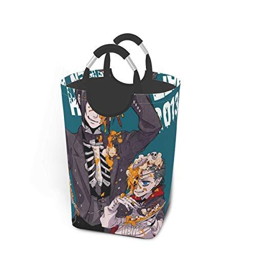 Black Butler Halloween Japan Animelarge Laundry Basket Bag with Handle for Washing Dirty Laundry, Foldable Dirty Laundry Basket Can Be Folded for Storage
