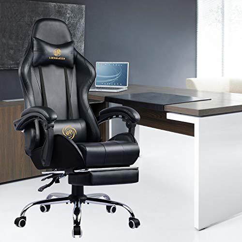 LUCKRACER Chaise Gaming Fauteuil de Bureau Chaise de Massage Lombaire Pivotante avec Repose-Pieds et Accoudoirs au Style de Course en Cuir de PU (Noir)