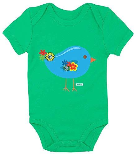 Hariz - Body de manga corta para bebé, diseño de pájaro y animales verde Rana de color verde. Talla:12-18 meses
