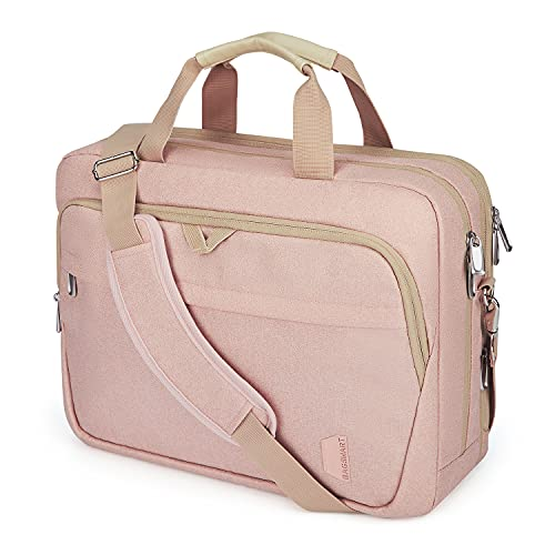 17.3 Inch Laptop Bag,BAGSMART Large Expandable Briefcase for Women Business Office Travel Computer Bag Shoulder Bag Water Resistant Anti Theft Durable,Pink
