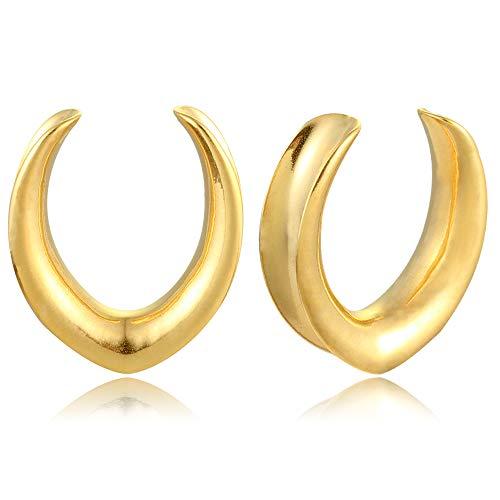 Casvort 2 PCS New Gold Saddle Tunnel Ear Plug Piercing Hangers Stretchers Fashion Body Piercing Jewelry 00g Ear Gauges(10mm)