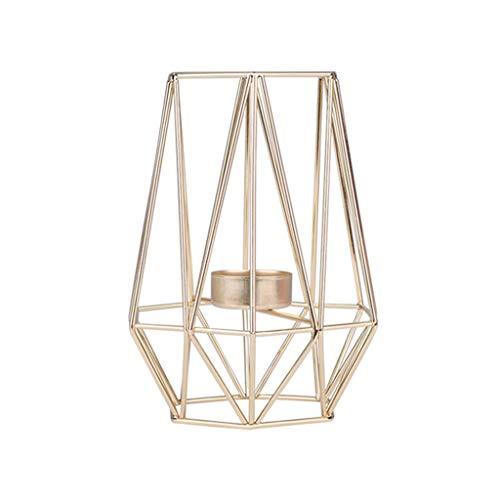 Igemy Nordischen Stil Schmiedeeisen Geometrische Kerzenhalter Dekoration Metall Handwerk (Gold M)