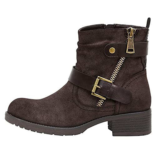 Heumgtnvx PU Leather Boots Zipper Short Ankle Booties Womens Thick-Soled Square Heels Shoes Buckle Combat Boots Brown