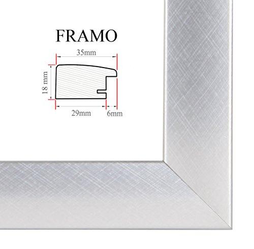 FRAMO 35 Bilderrahmen 62x115 cm, Farbe: Alu Criss Cross, maßgefertigter MDF-Holz Rahmen mit Anti-Reflex Kunstglasscheibe, Rahmen Breite: 35mm, Außenmaß: 67,8 x 120,8 cm