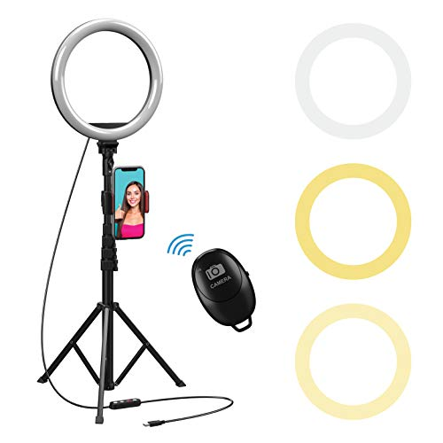 """10"""" Selfie Ring Light with 59"""" Extendable Tripod Stand & Flexible Phone Holder for Live Stream Makeup, Beam Electronics Desktop Led Camera Ringlight for Tik Tok YouTube Video Photo, For iPhone Android"""
