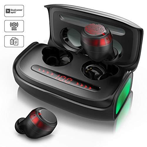 Votomy Bluetooth hoofdtelefoon, bluetooth 5.0, koptelefoon, draadloos, in ear oortelefoon, automatische koppeling, 2600 mAh laadbox met digitale led-weergave, touch-control, CVC8.0