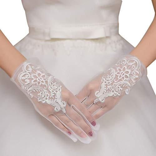 JHD Glamour Brautkleid Handschuhe Spitze Kurzer Absatz Fäustlinge Brautkleider Zubehör Charmante Dame Frauen Handschuh mit Fingern