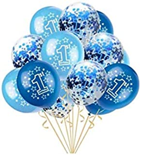 holiday atmosphere 15 PCS 1st Birthday Balloons Boy Decorations Kit,Fun to be One,Blue and Sky Blue Color Balloons Sweet Party Decoration